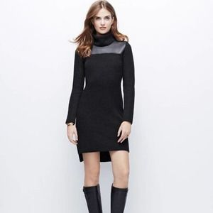 Ann Taylor Sweater Dress Black Pleather Size MP